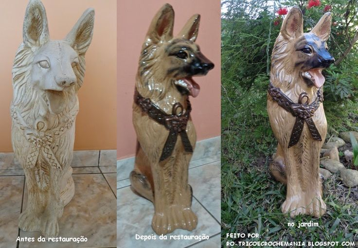 Enfeite De Gesso ~ Cachorro Pastor Alem u00e3o em gesso, enfeite para o jardim Minhas Pinturas e Restaurações