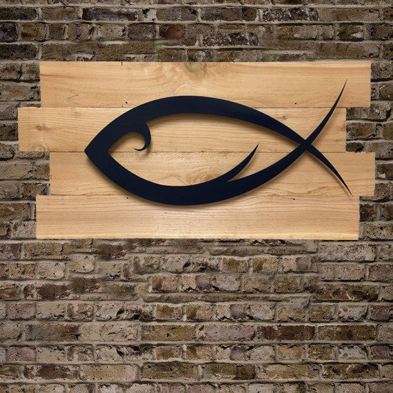Jesus Fish Ichthys Tribal Style Navy Blue Emblem on by AEONGALLERY