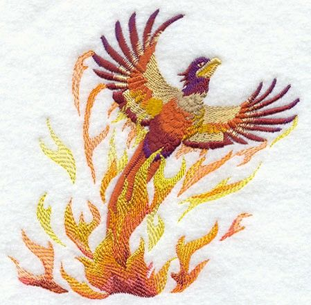 """RISE of the PHOENIX  Machine Embroidery Quilt by AzEmbroideryBarn, $12.50 - 12"""" X 12"""" WHITE COTTON FABRIC"""