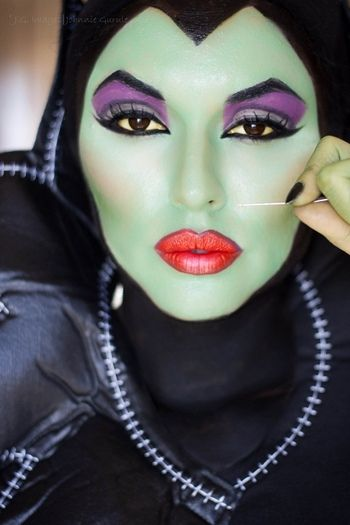 FOTD September 16, 2012 #Maleficent MuT Johnnie. Green Face Paint looked great with Black Big Eye Contact Lenses. www.foureyez.com