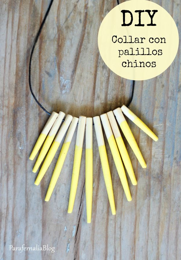 DIY necklace with  chopsticks / DIY Collar con palillos chinos by ParafernaliaBlog