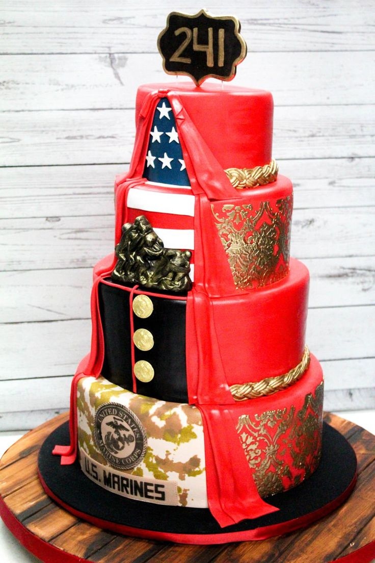 Usmc Birthday Cake 2 sided USMC fondant cake. 4 tier