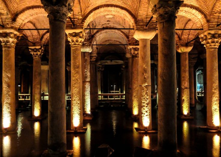 built in the 6th century during the reign of Byzantine Emperor Justinian I, The Basilica Cistern is the largest of several hundred ancient cisterns that lie beneath the city of Istanbul, istanbul.