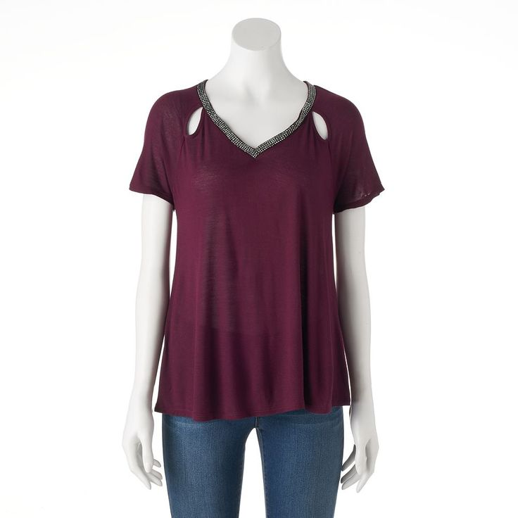 Women's Jennifer Lopez Cutout Embellished Tee, Size: Medium, Drk Purple