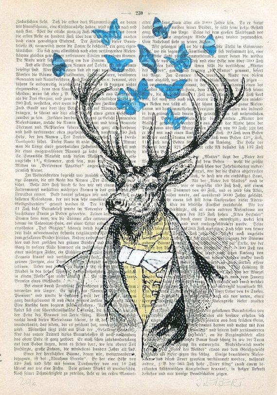 CHEVREUIL partie Monsieur papillons art print affiche murale décor chasse dictionnaire art mode illustration