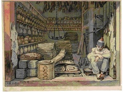 """""""Almacén de charque y carnes saladas en Rio de Janeiro"""" (1825) obra del pintor francés Jean-Baptiste Debret"""