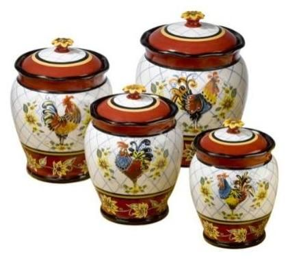 Rooster Canisters: Ceramic Canisters Not Only Make A Nice Decorative Touch,  But Are A Great Way To Store Sugar, Flour, And Other Necessities.