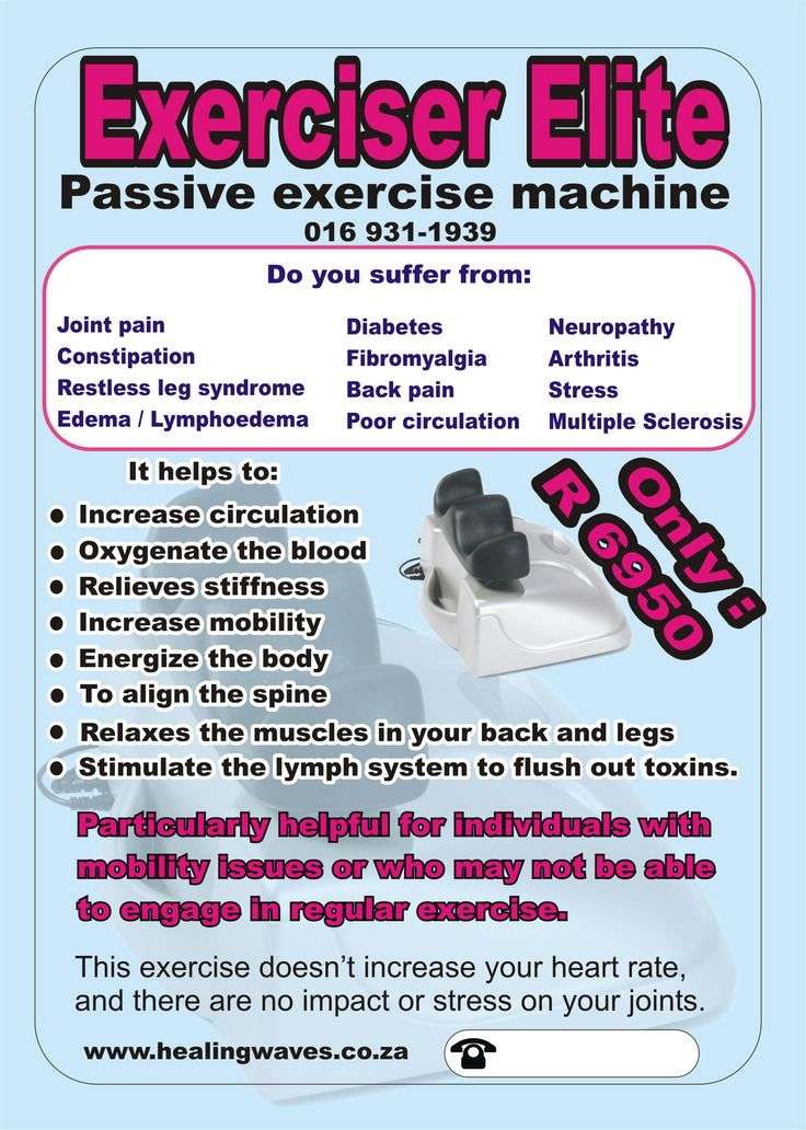 Exerciser elite is ideal for lymphoedema, and circulation problems...