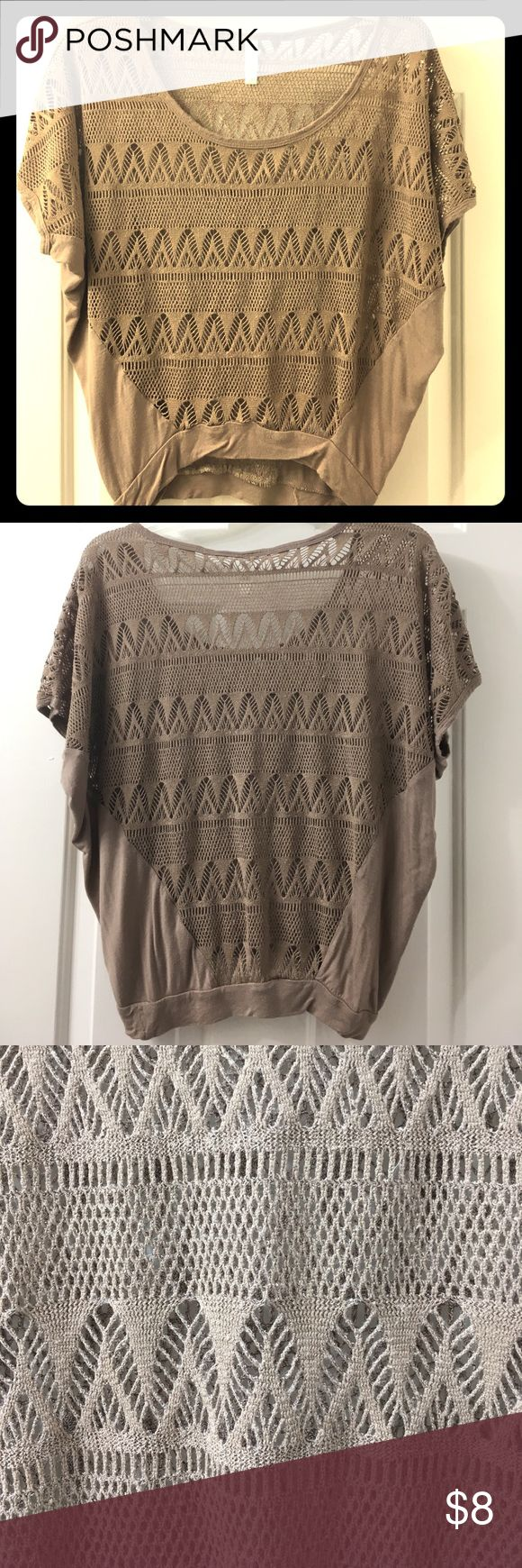 Boho slouchy top Taupe. Comfy. Crochet body is in great shape. Very very minor wear on the full fabric. Still in great shape. Xhilaration Tops