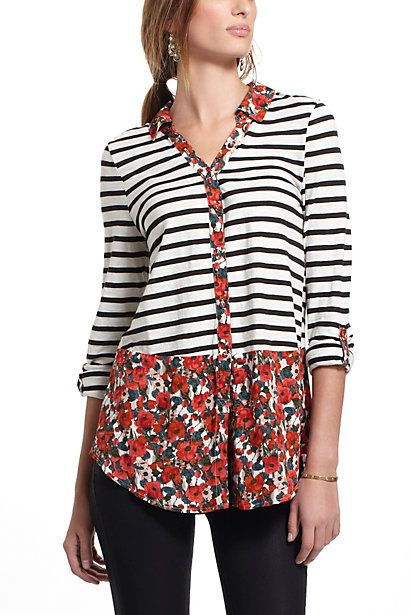 Woven Borders Buttondown #anthropologie. Don't love the combo, but its a great idea.