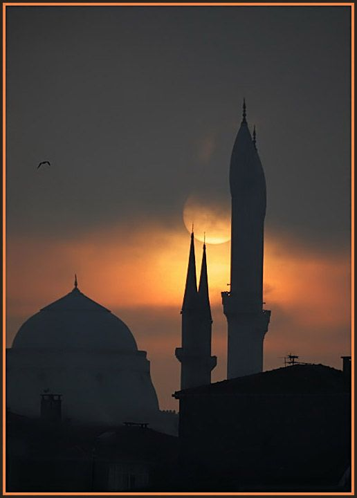 ✿ ❤ Fogy Istanbul Sunset - Istanbul (Photographer's Note: Today, Istanbul was fogy. The sunset was different too especially, behind the interesting minarets of Kartal mosques.)