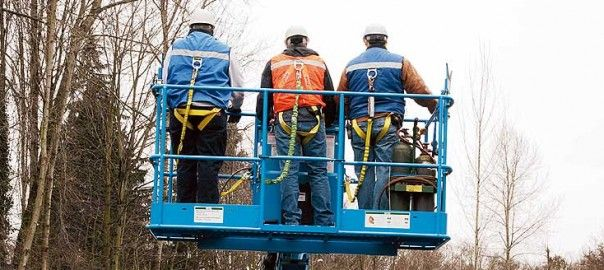 safety harness on a boom lift