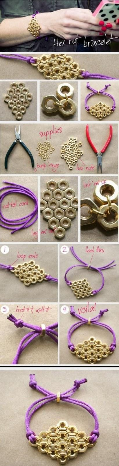 Make hex nut bracelet by your own:-  For making hex nut bracelet we need jump rings, hex nuts, rat-tail cord and a pliers.... click on picture to read more