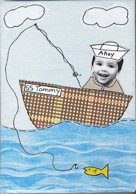 Tapa álbum escolar velero. Dibujo del mar para niños. Tapa álbum escolar con foto.