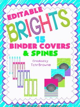 Editable Binder Covers and Spines - Brights Collection $