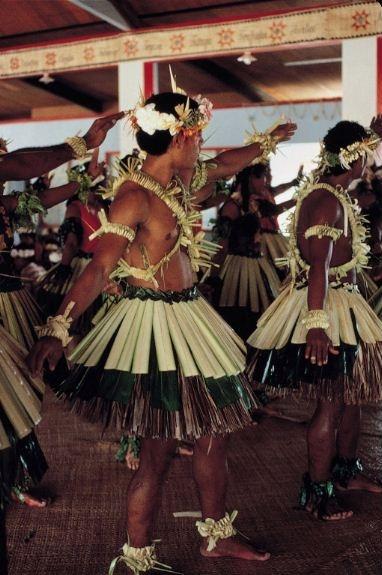 Tuvalu people dancing in their costumes.