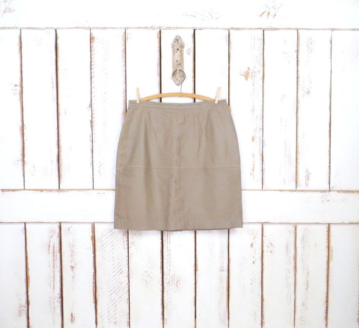 Vintage tan leather a-line mini skirt/short taupe brown leather skirt/90s high waisted leather skirt/14/large by GreenCanyonTradingCo on Etsy