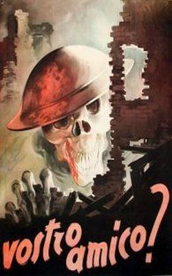 """Italian propaganda poster depicting a skull with a British helmet in a ruined Italian town. Translation reads """"Your friend?"""""""