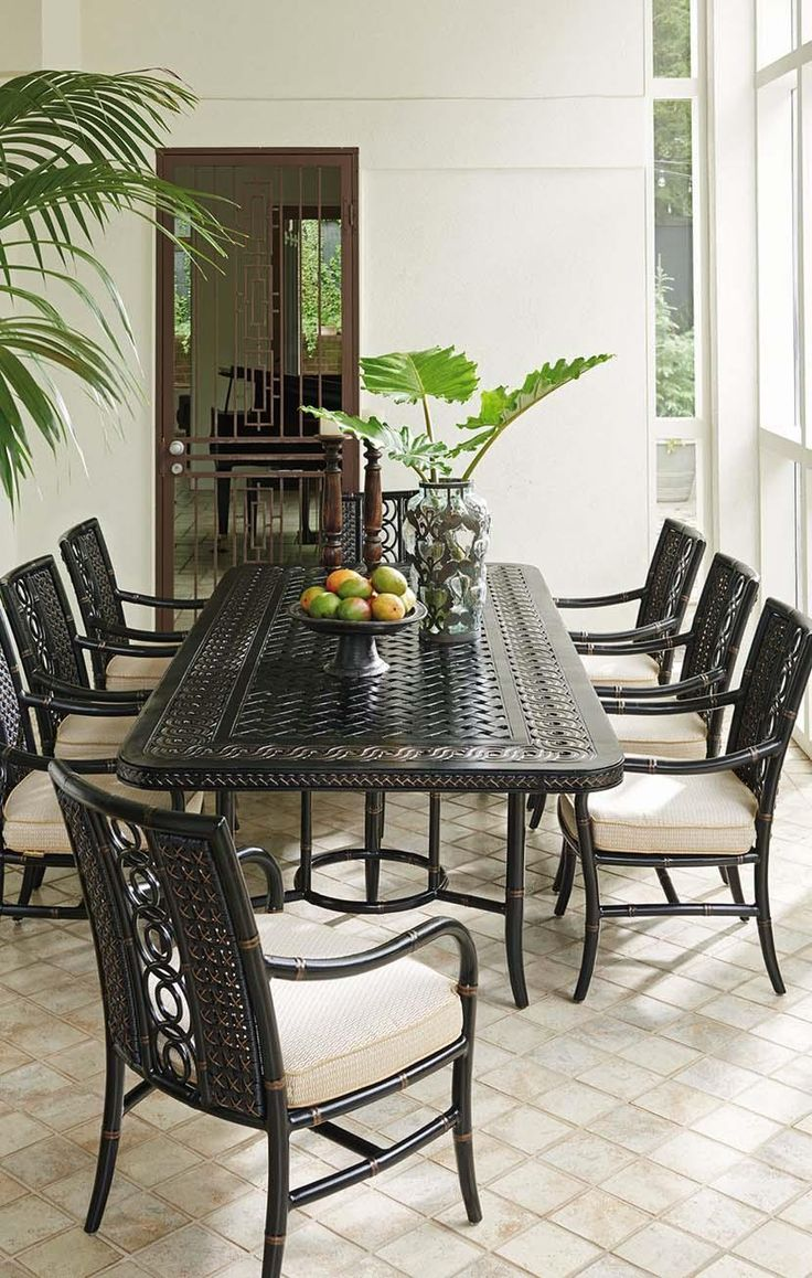 Tropical Outdoor Dining Space With Tommy Bahama Outdoor Living Furniture. Photo Gallery