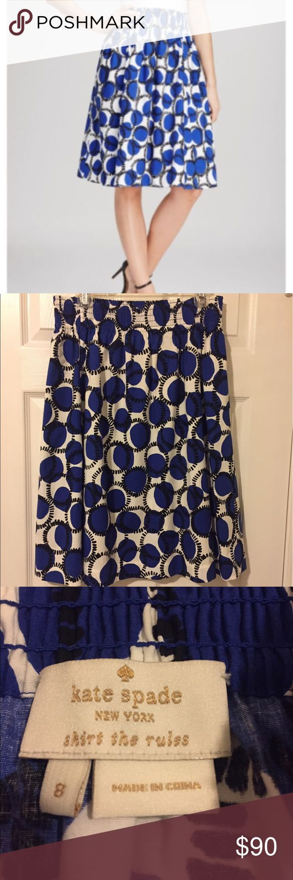 "Kate Spade Midi Skirt ""Skirt The Rules"" in this Kate Spade midi. It's the perfect skirt with a comfy elastic waste and pockets!!!! It measures almost 15 inches at the waist and that is without it  being stretched. I average size 8 and have worn it but it fits size 10/12 as well. Due to this it hasn't gotten a lot of wear. EUC 25 1/2 inches long. It hits me lower on the knee than on the model in the first pic and I'm 5' 9"" kate spade Skirts Midi"