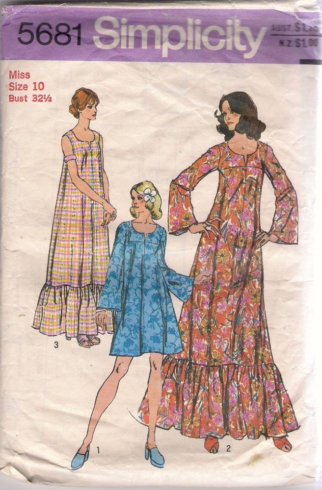 Simplicity Pattern 5681 Vintage Muu Muu Dress In 2 Lengths Size