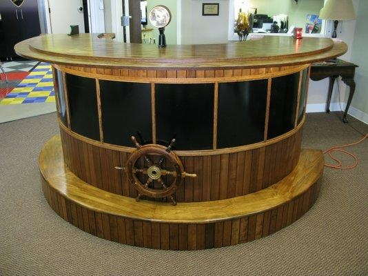Nautical Boat Bar/reception Desk Salvaged From A Real Boat
