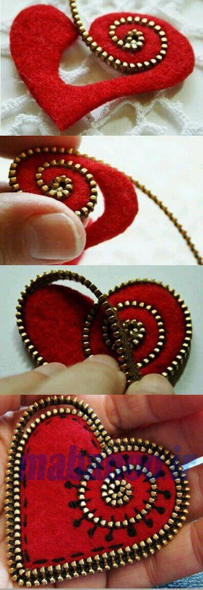 felt zipper brooch tutorial