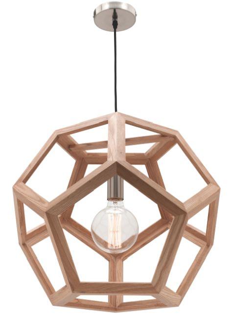 Peeta 55cm Large Pendant Light Natural Timber Hexagon Mercator MG4231L