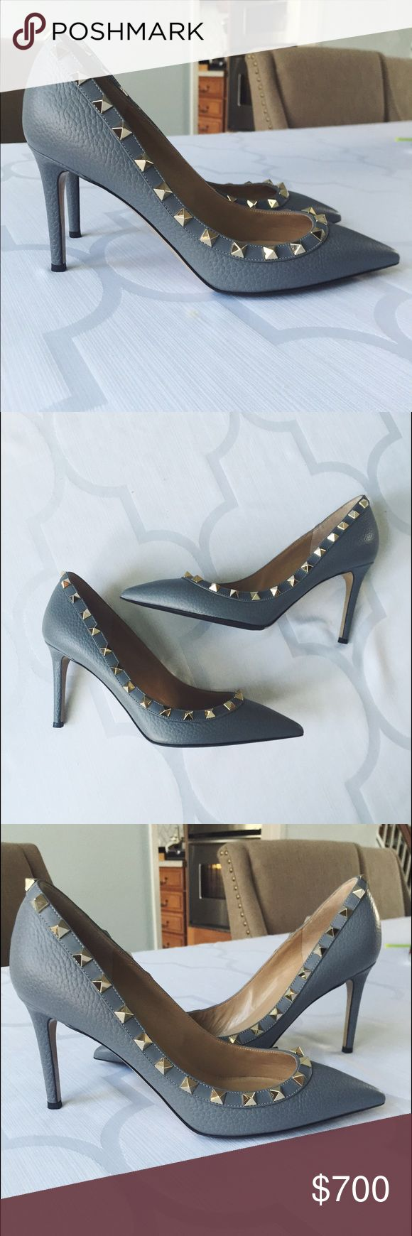 """Valentino Rockstud Pumps Authentic Valentino Rockstud Pointy Toe Pumps made of gray pebbled leather and embellished with signature gold studs. Heel is approx 3"""" Italian size 37, would fit a 6.5. Bottom of shoe has been resurfaced (see pic). Other than that there are no flaws. Retail $845. No box or dust bag. Valentino Shoes Heels"""