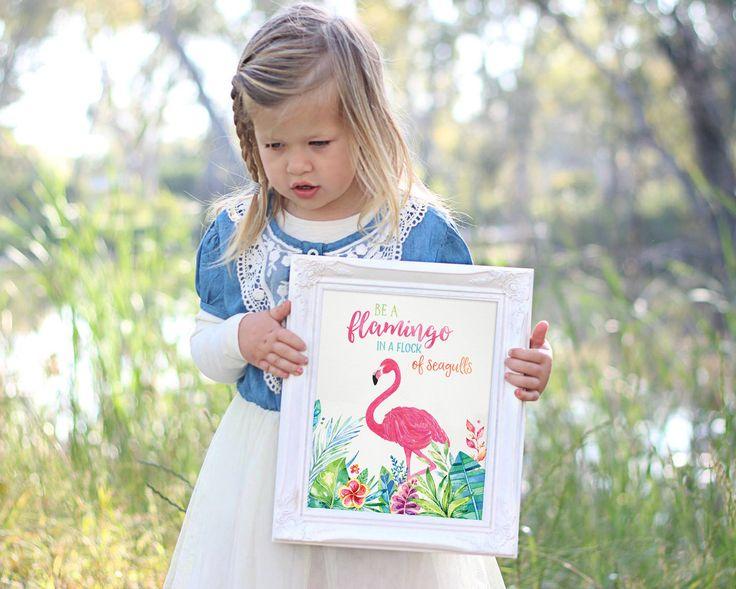 Flamingo Print - Girl Wall Art - Printable Quote - Flamingo Printable Art - Girl Nursery Wall Decor - Kids Wall Art - Kids Wall Printable