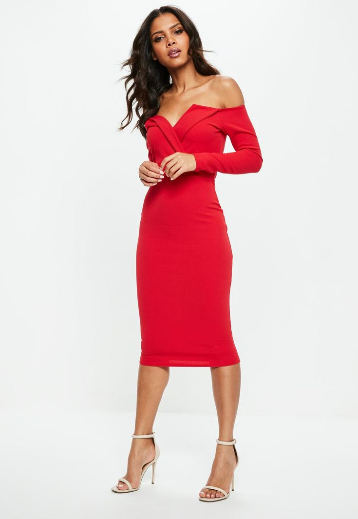 Missguided - Red Bardot Foldover Wrap Midi Dress