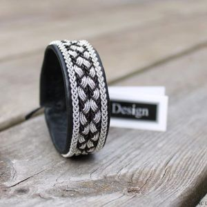 Sami bracelet *Gandvik handmade in Sweden www.acdesign.se #acdesign #bracelet #saami #sweden #black #leather #shopping #jewelry #jewellery #pinterest