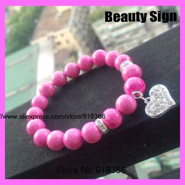 10pcs 10mm pink stone bracelet ,pink bracelet, heart bracelet, silver tone rhinestone heart  bracelet