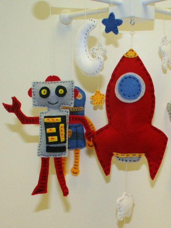 Custom Robots in Space Felt Mobile - stars, moon, rocket ship - You pick the colors. $65.00, via Etsy.