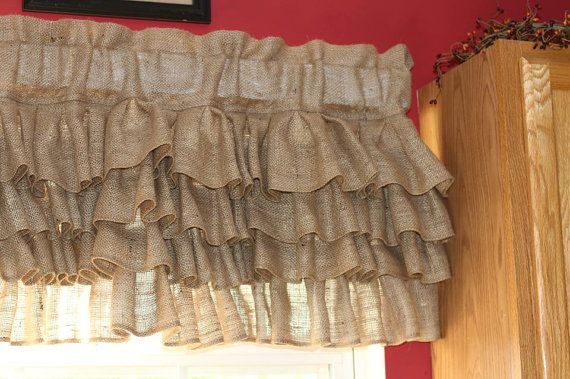 Curtains Burlap Valance Ruffled Burlap Curtains by SewManly1