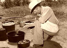 Dutch Oven Recipes for Campfire Cooking.    Chuck Wagon cook near Spur, Texas, 1939.