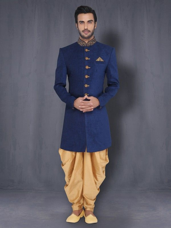 Dark Blue Indo-Western with Patiala