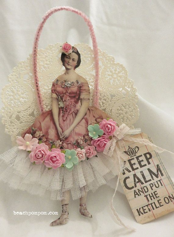 Pink TEA TIME Lady ornament Roses tulle & vintage by BeachPomPom