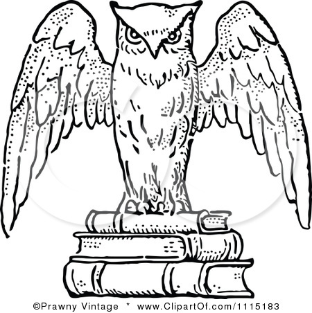 Clipart Vintage Black And White Wise Owl On Books ...