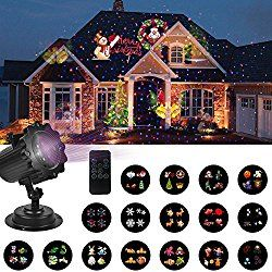 UNIFUN Christmas Decorations Lights Projector with Red Blue Star -16 Slides LED Landscape Projection Lights for Christmas, Halloween and Holiday Decorations with Remote Control and Timer