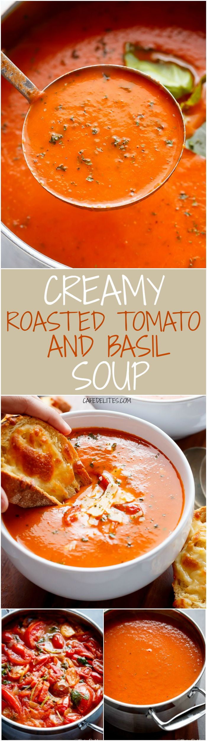 A Creamy Roasted Tomato Basil Soup full of incredible flavours, naturally thickened with no need for cream cheese or heavy creams! Popular Pins! | cafedelites.com