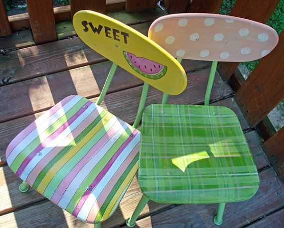 Recycled Hand Painted Childs ChairSALE by ThePaintedPine on Etsy, $30.00