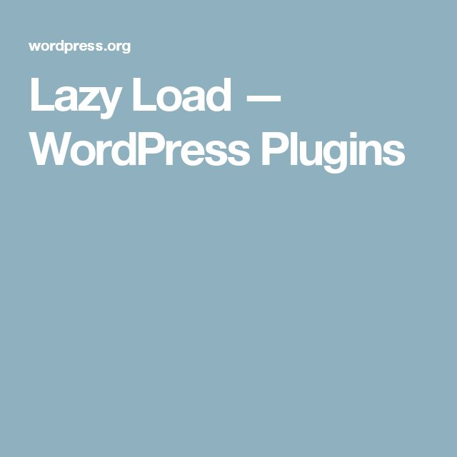 Lazy Load — WordPress Plugins