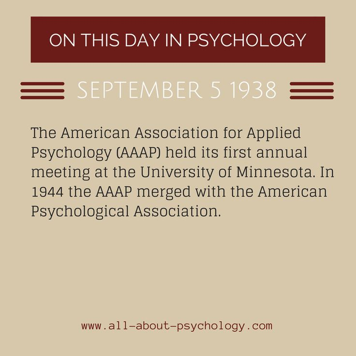 5th September 1938. The first annual meeting of the American Association for Applied Psychology (AAAP) took place. Click on image or GO HERE --> www.all-about-psychology.com for free psychology information & resources. #psychology
