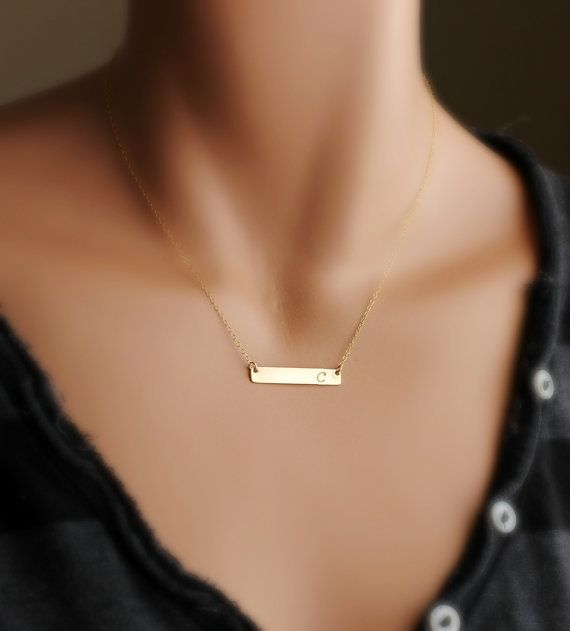 Personalized Gold Bar necklace Bar Monogram Necklace by hotmixcold