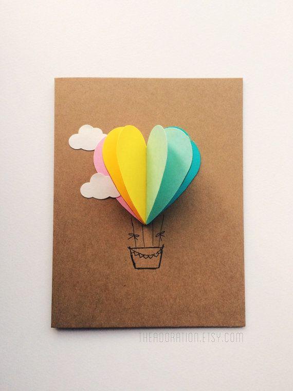 Multicolor Rainbow Heart Hot Air Balloon Card by theadoration