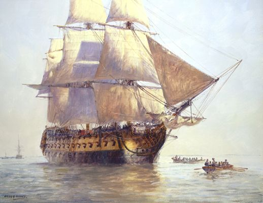 """""""HMS Temeraire,"""" by Geoff Hunt. A second-rate 98-gun ship. Made more famous by J.M.W. Turner's painting - """"The Fighting Temeraire"""" in London's National Gallery."""