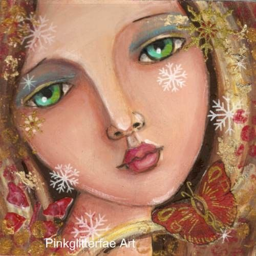 Woman  portrait Snowflakes and Butterflies  Original painting on Wood panel 6x6. $45.00, via Etsy.