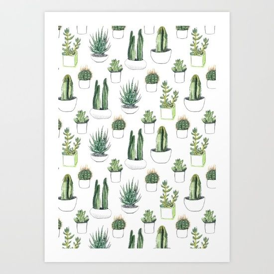 Watercolour cacti and succulent - Vicky Webb (on society6.com)