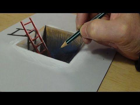 Dibujo 3D para niños - Cómo dibujar la escalera roja en el agujero - Truco de arte sobre papel - YouTube